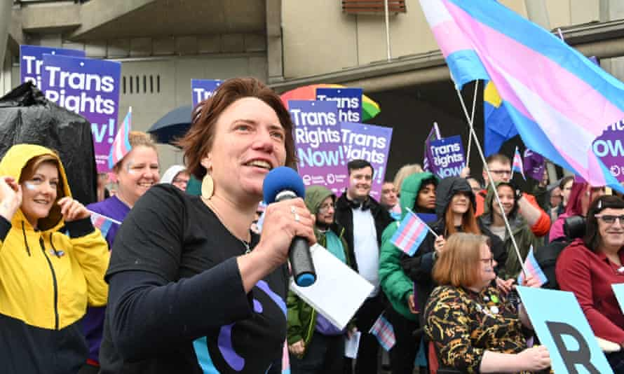 Trans rights protesters outside the Scottish parliament. Equalities groups have argued that trans men and women should be allowed to answer the compulsory sex question with the sex in which they live and identify.