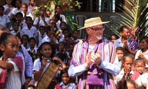 The Northern Territory education minister, Peter Chandler, is welcomed by students at Mauraba school in Timor-Leste.