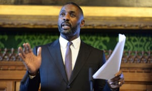 Idris Elba addresses the Houses of Parliament in January 2016.