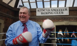 John Prescott on a visit to a boxing club in Redcar during the election.