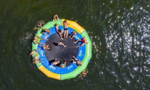 A water trampoline in Germany
