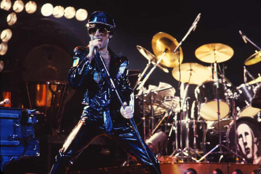 Mercury on stage during the tour for 1977's News of the World
