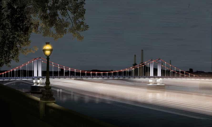 Sam Jacob Studio's proposal for lighting up Chelsea Bridge.