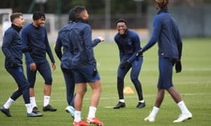 Chelsea players during training at Cobham on Friday.