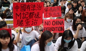 Young people in Taipei, Taiwan, demonstrate in support of Hong Kong protesters