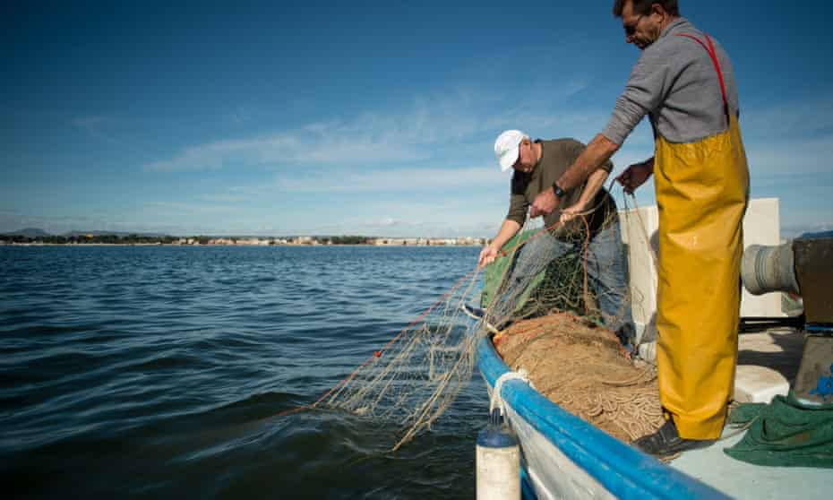 Pedro Martinez, right, fishes from his boat off the coast of San Pedro del Pinatar, in the Mar Menor lagoon on the coast of Murcia, south-eastern Spain.