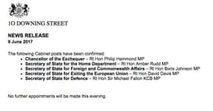 Downing Street press notice.