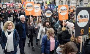 Women march in central London to celebrate International Women's Day