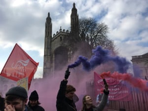 University of Cambridge student rally in support of striking staff outside Old Schools and Kings College.