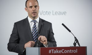Dominic Raab giving a Vote Leave speech.