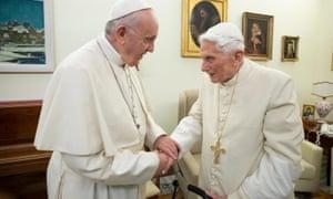 Pope Francis with Pope Emeritus Benedict XVI in December 2018.