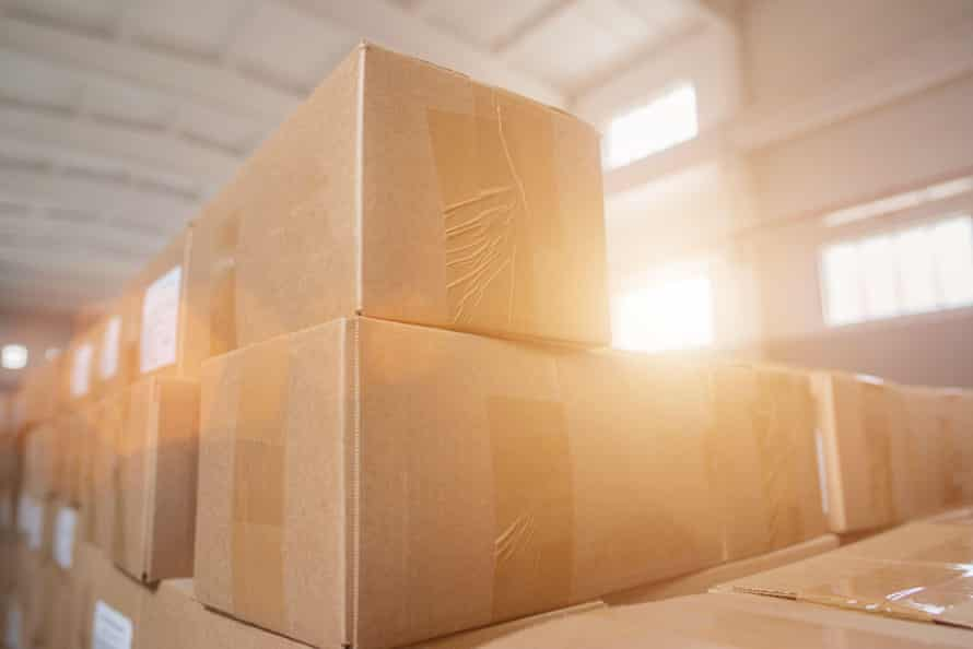 Parcels in cardboard boxes