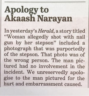 An apology to Akaash Narayan, published on page two of the Sydney Morning Herald on Friday.