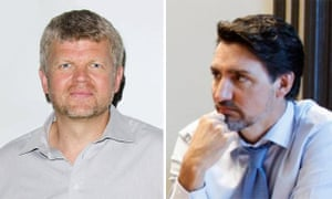 Adrian Chiles, left, and Justin Trudeau.