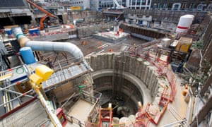 A building site that forms part of London's new east-west rail line, Crossrail.