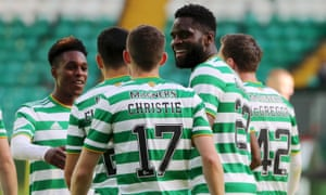 Odsonne Edouard of Celtic celebrates after he scores his hat-trick.
