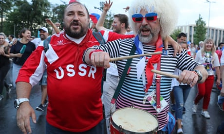 England fans scramble to join carnival in Moscow as Russia fells Spain