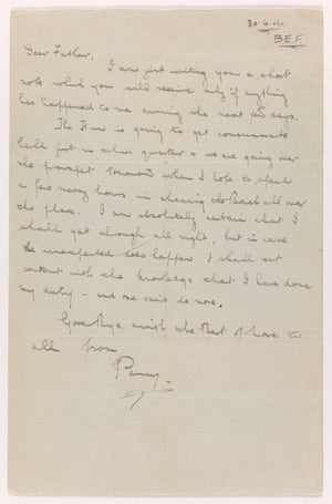 Percy Boswell's last letter home.