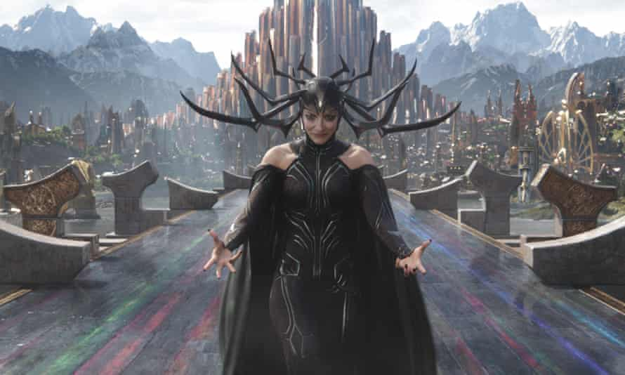 Tearing up ... Cate Blanchett as Hela.