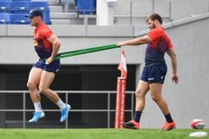 South Africa's Jessie Kriel (left) and Frans Steyn during training in Kumagaya.
