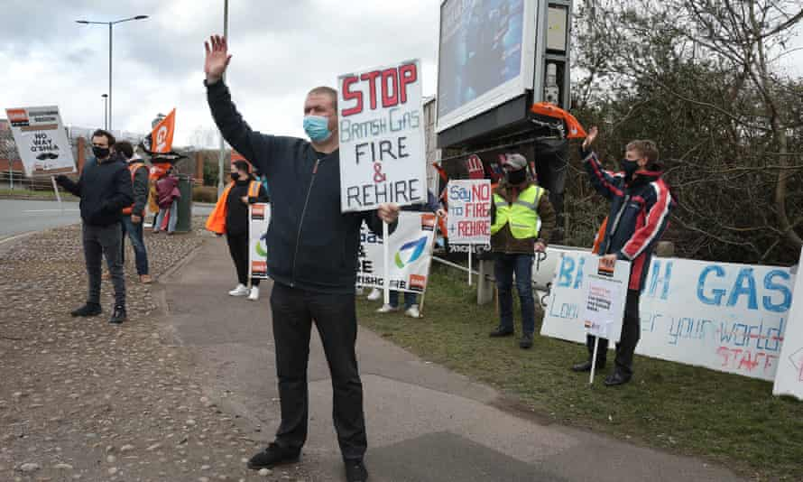Striking British Gas workers in Sidcup, Kent, in March 2021