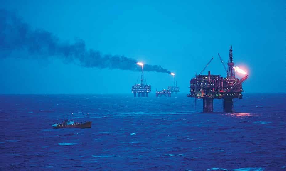 Oil rigs in the North Sea.