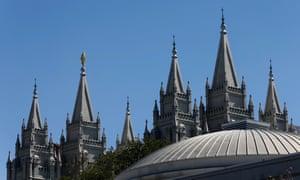 The Salt Lake Mormon Temple in Salt Lake City, Utah.