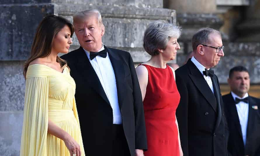 Melania Trump, US President Donald J. Trump, British Prime Minister Theresa May and her husband Philip during a welcoming ceremony at the Blenheim Palace in Blenheim, Oxfordshire