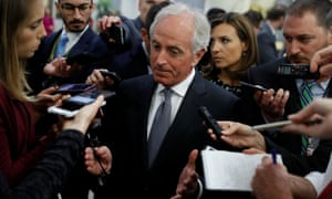 Bob Corker speaks with reporters on Capitol Hill.