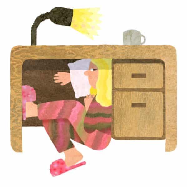 illustration of sleeping under desk