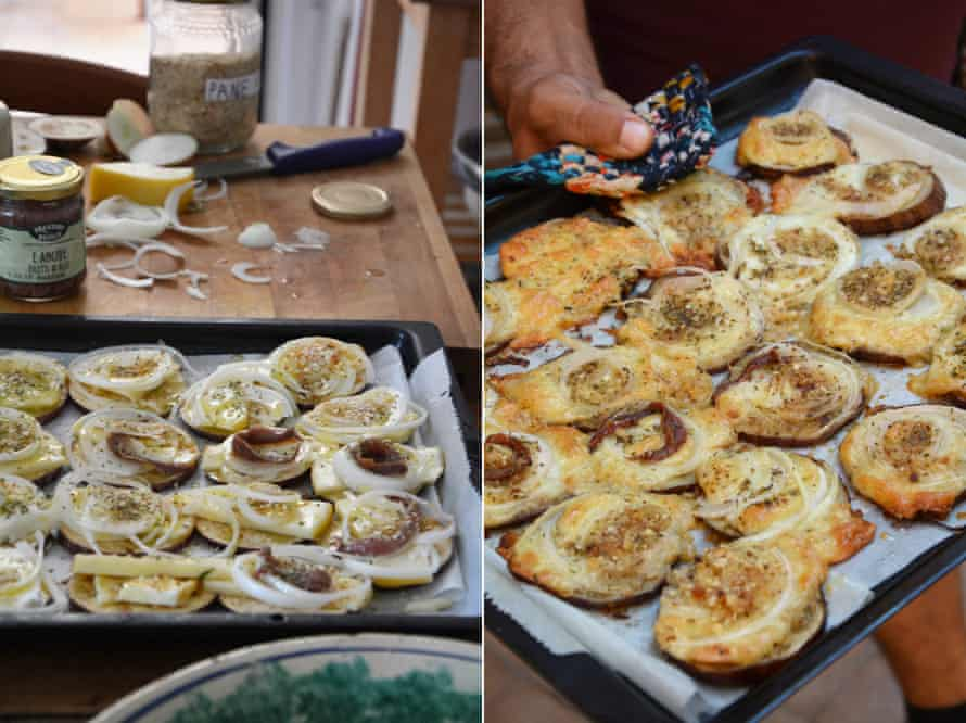 Oven-baked aubergine with cheese and anchovy.