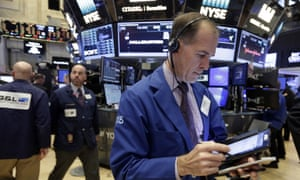 Trader Mark Puetzer working on the floor of the New York Stock Exchange today, as shares rallied