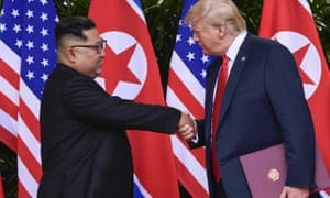 North Korean leader Kim Jong-un and US president Donald Trump shake hands at the conclusion of their meeting in Singapore.