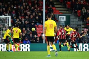 Pereyra scores Watford's third.