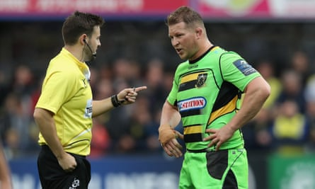 Referee Ben Whitehouse sends Northampton captain Dylan Hartley to the sin-bin after his swinging arm hit Clermont Auvergne prop Rabah Slimani in the face.