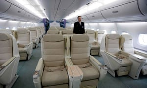 View of business-class seating inside the Airbus A380