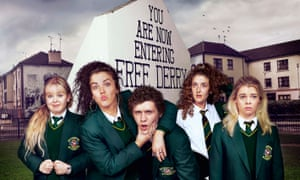 Derry Girls (from left): Clare Devlin (Nicola Coughlan), Michelle Mallon (Jamie-Lee O'Donnell), James Maguire (Dylan Llewellyn), Orla McCool (Louisa Clare Harland) and Erin Quinn (Saoirse Monica Jackson).