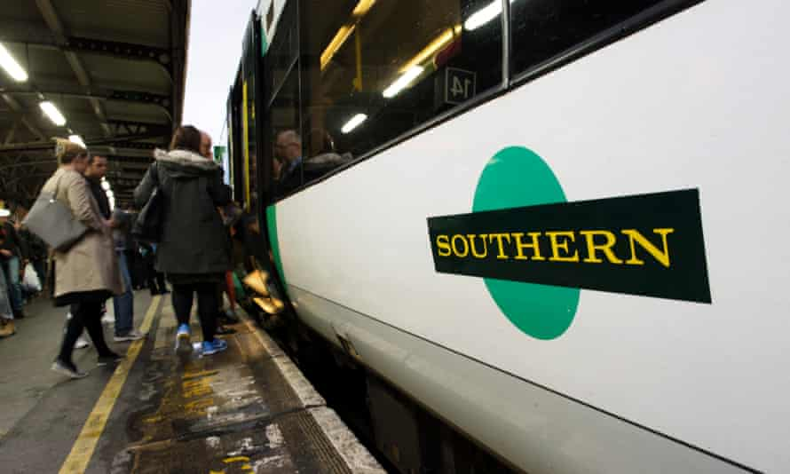 Commuters boarding Southern train at Clapham Junction