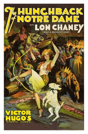 Lon Chaney wears a crown and Esmeralda, the gypsy girl, dances with tambourine on a poster that advertises the movie Hunchback of Notre Dame, 1923.