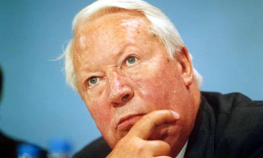 Ted Heath at the Conservative party conference in 1990.