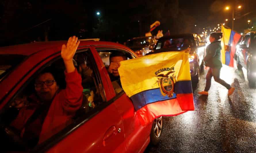 Ecuadorians celebrate on the street