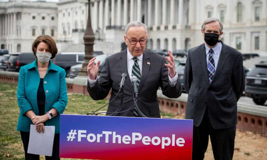 Senate Majority Leader Chuck Schumer holds a press conference regarding the For The People Act, in Washington, 17 March 2021.