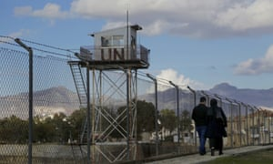 A UN guard post at the fence that divides the Greek and Turkish areas of Cypru