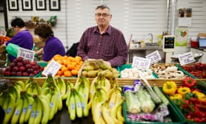 Dave Wilson on his fruit and veg stall in Barnsley