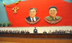 Kim Jong-un delivering the opening speech a Workers' Party of Korea conference in Pyongyang.