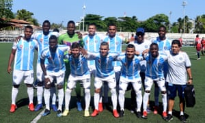 Real San Andrés players pose for an official team photo before the game against Fortaleza.