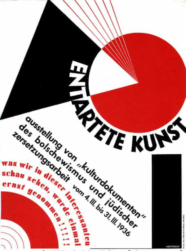 Poster for an exhibition denouncing 'degenerate' art, 1936, Germany.