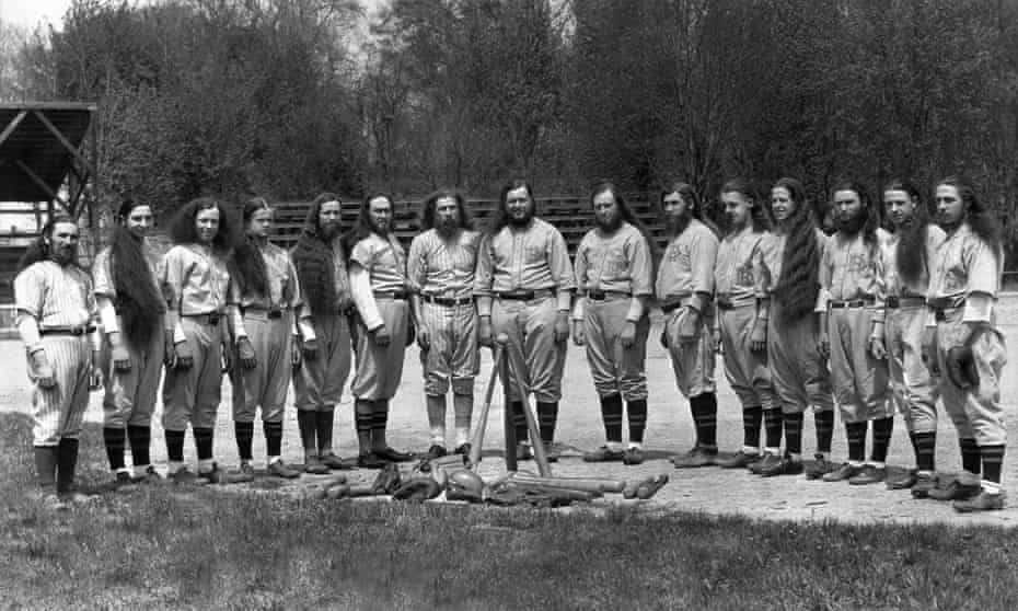The House of David baseball team, in Benton Harbor, Michigan, circa 1918. The group forbade their members to cut their hair or shave their beards.