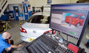 A Volkswagen Passat CC car is tested for its exhaust emissions in Walthamstow, London