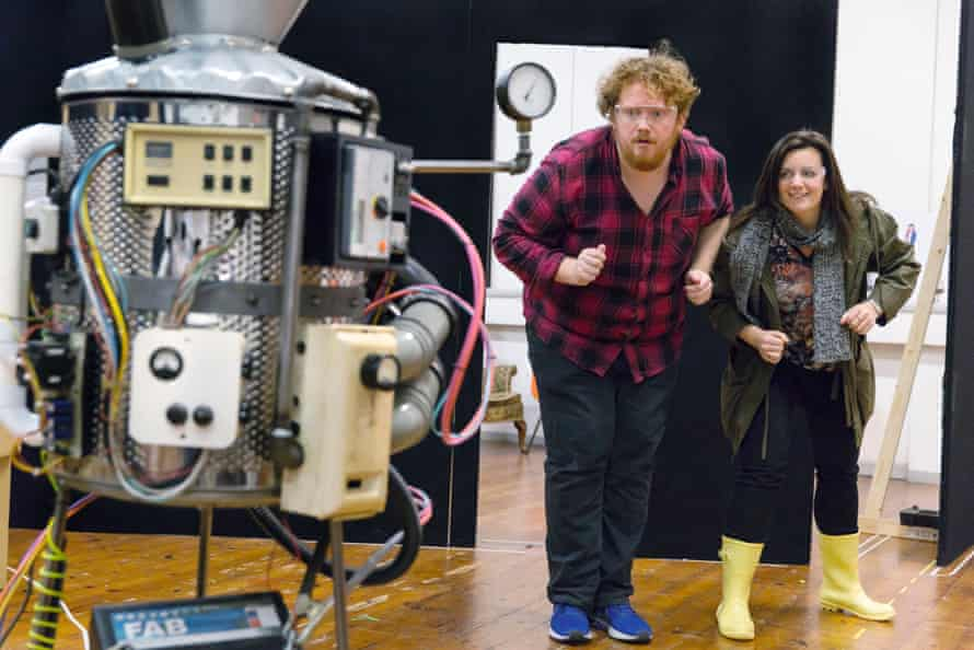 Alexander Robin Baker and Robyn Allegra Parton in rehearsal for Coraline.